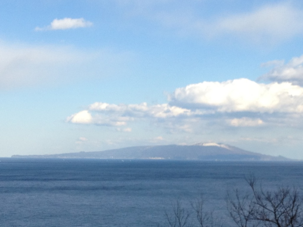 大島も雪化粧